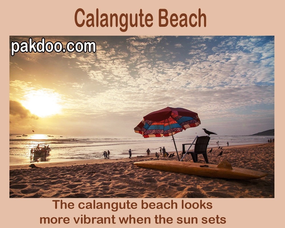 calangute beach is different from others when sun sets. this beach is located in Goa.