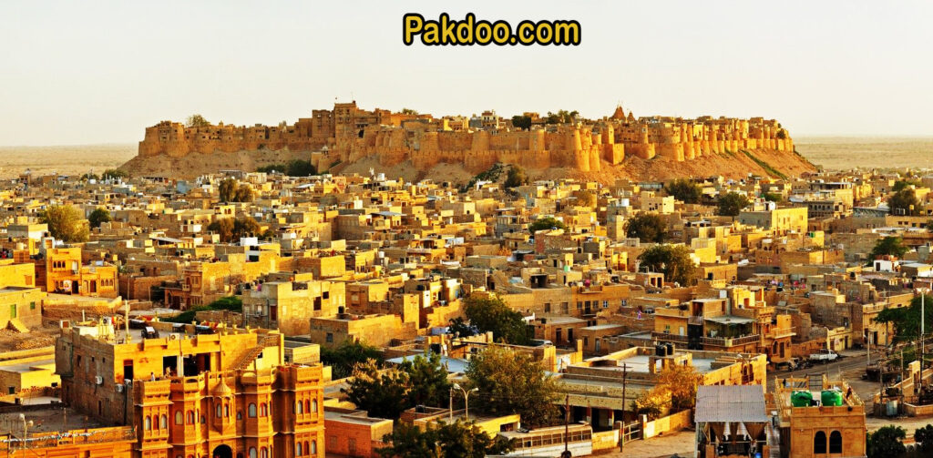 the golden city Jaisalmer is a beautiful place for tourism. it's yellow sand stone wall is famous in the world.